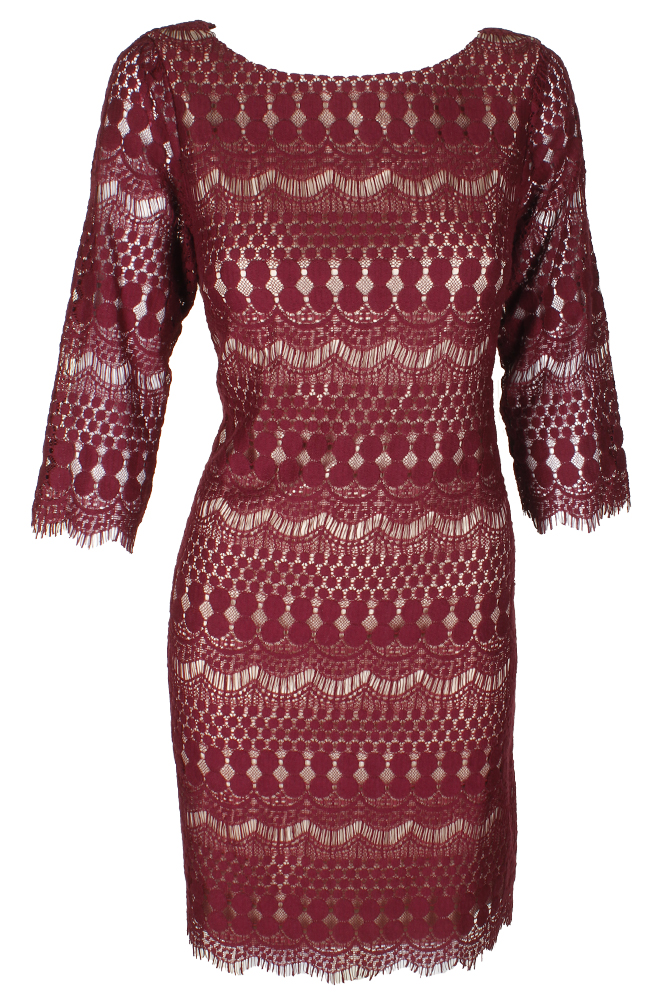 682465ca2b48 Jessica Howard Wine 3/4-Sleeve Lace Sheath Dress 8 | eBay
