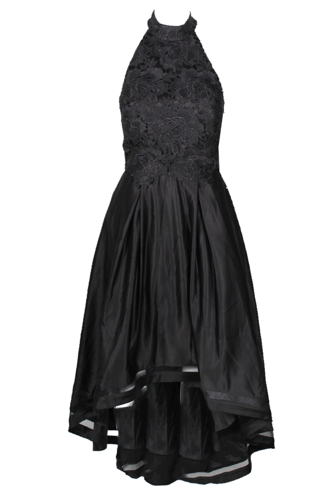 Betsy Adam schwarz Lace And Satin Mock-Neck Halter Hi-Lo Gown 10