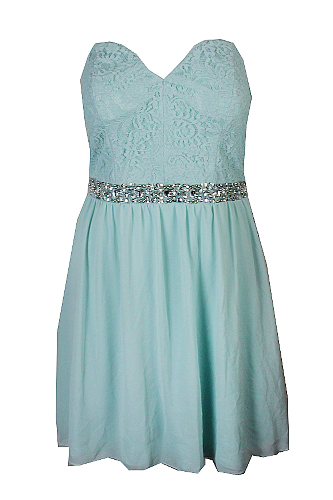 Speechless Juniors Mint Strapless Lace Embellished Chiffon Party Dress 13 cb6a1df1b