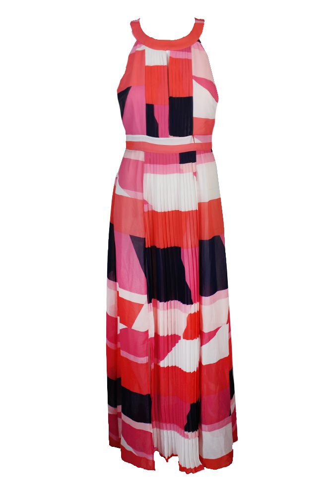 832542042d0 Vince Camuto Pink Sleeveless Printed Keyhole Maxi Dress 10 ...