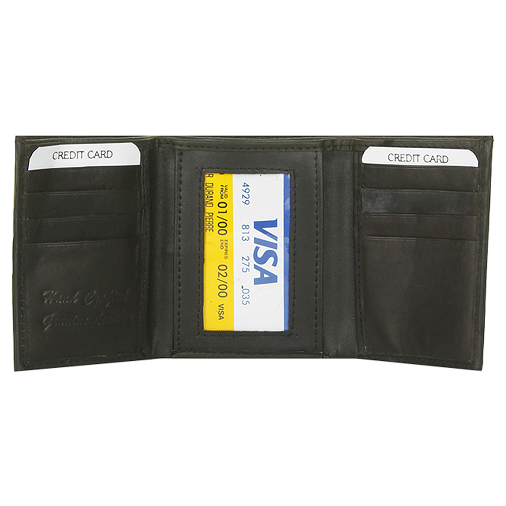 DBFL-Men-039-s-Genuine-Leather-Solid-ID-Window-Trifold-Wallet thumbnail 3