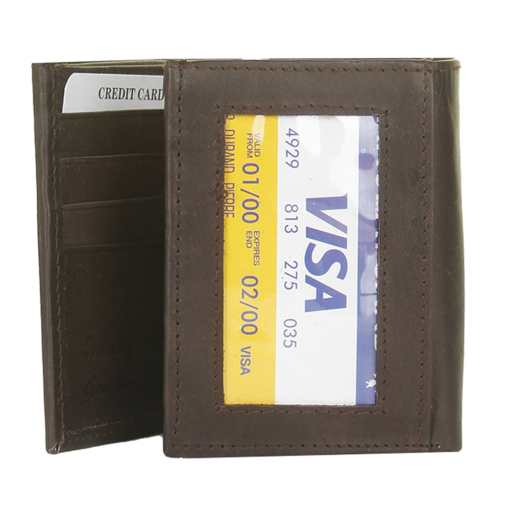 DBFL-Men-039-s-Genuine-Leather-Solid-ID-Window-Trifold-Wallet thumbnail 7