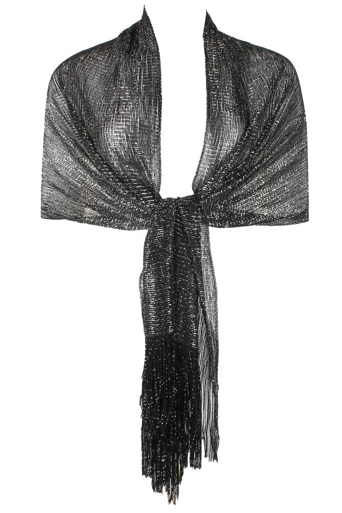 DBFL-Ladies-Metallic-Shimmery-Fringed-Mesh-Evening-Scarf thumbnail 12