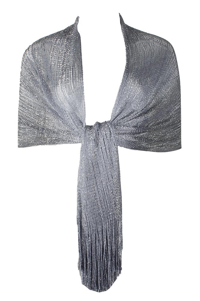 DBFL-Ladies-Metallic-Shimmery-Fringed-Mesh-Evening-Scarf thumbnail 39