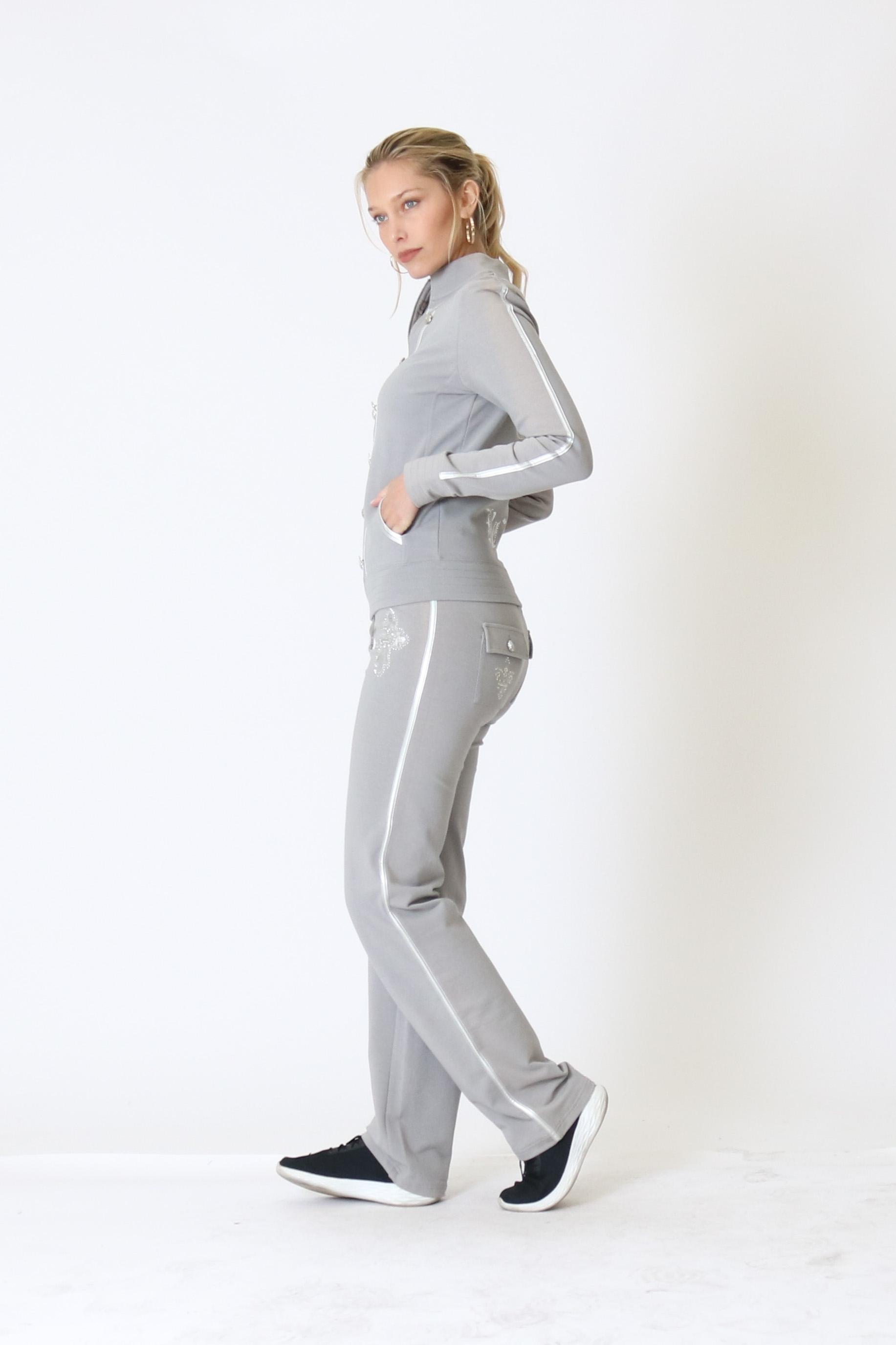 BCBG-Women-039-s-Lounge-Wear-2-Piece-Embellished-Jacket-and-Pants-Jogger-Set thumbnail 22