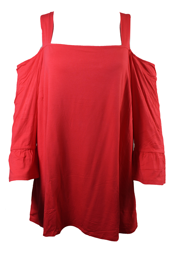 ceb6f8741721d Inc International Concepts Plus Size Red Square-Neck Cold-Shoulder Top 0X