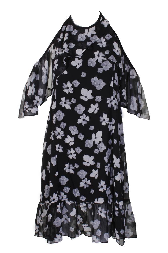 8d7679882ceb Kensie Black Grey Floral-Print Off-The-Shoulder Halter Dress XL ...
