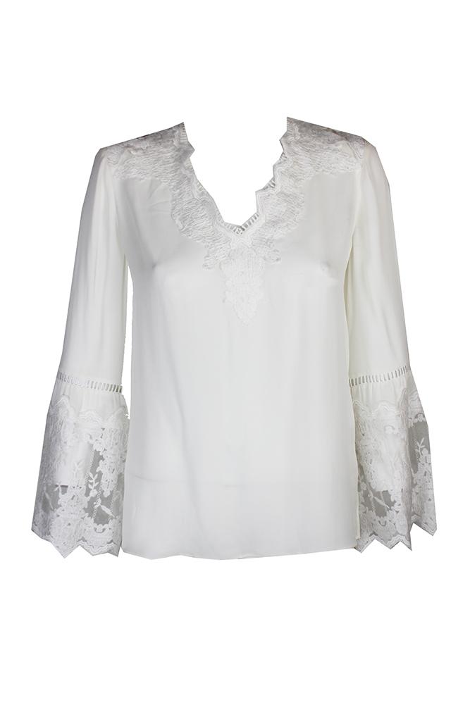 68698da8a Kobi Halperin White Lace Inset Carolina Silk Blouse S 889783044643 ...