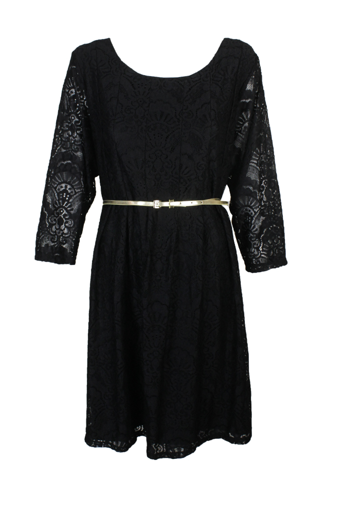 2b92de27ae5 Ny Collection Plus Size Navy Lace Belted Fit Flare Dress 3X MSRP   70