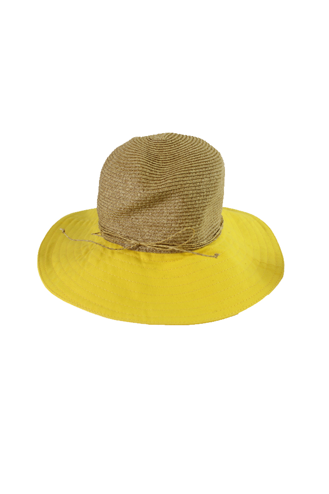 8519036baed3b Nine West Beige Yellow Canvas And Straw Floppy Hat OS MSRP   38 ...