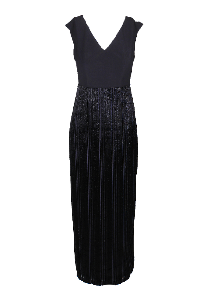 Details about Adrianna Papell Plus Size Black Metallic Velvet Mixed Media  Long Column Dress