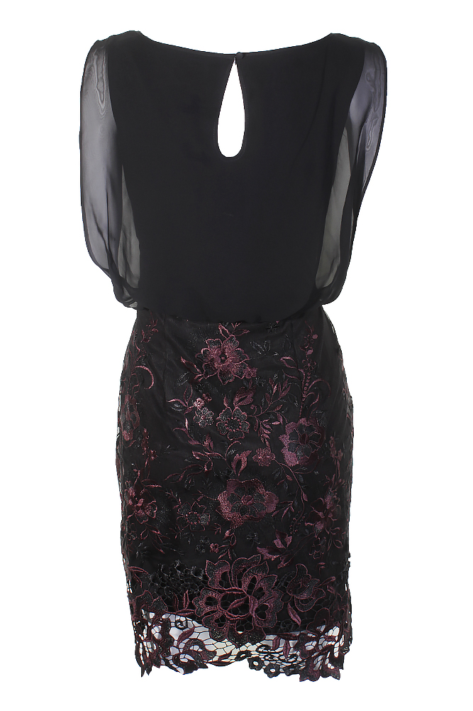 Calvin Klein Black Aubergine Floral Chiffon Embroidered