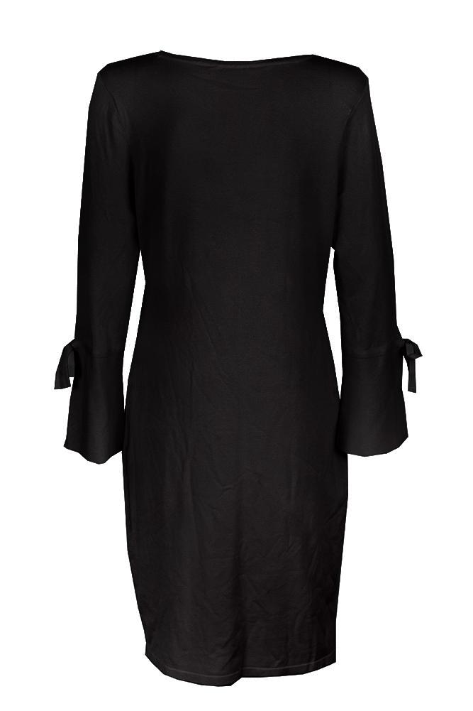 Calvin Klein Black Bell Sleeve Ribbon Trim Sweater Sheath Dress M