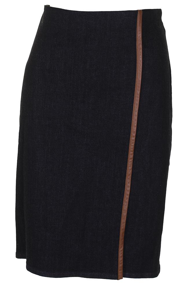 b08e095414c Lauren Ralph Lauren Navy Blue Brown Stretch Denim Pencil Skirt 4 ...