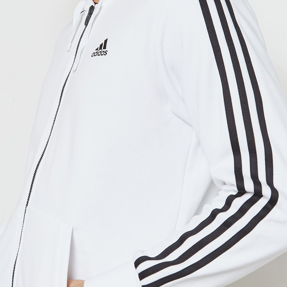 Adidas-Men-039-s-Essential-3-Stripe-Front-Pocket-Zip-Up-Hoodie thumbnail 7
