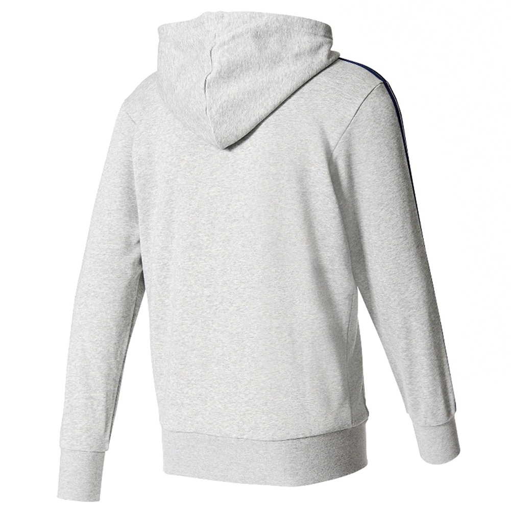 Adidas-Men-039-s-Essential-3-Stripe-Front-Pocket-Zip-Up-Hoodie thumbnail 3
