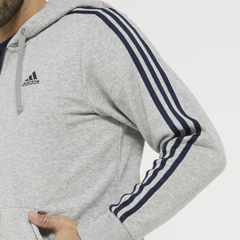 Adidas-Men-039-s-Essential-3-Stripe-Front-Pocket-Zip-Up-Hoodie thumbnail 4