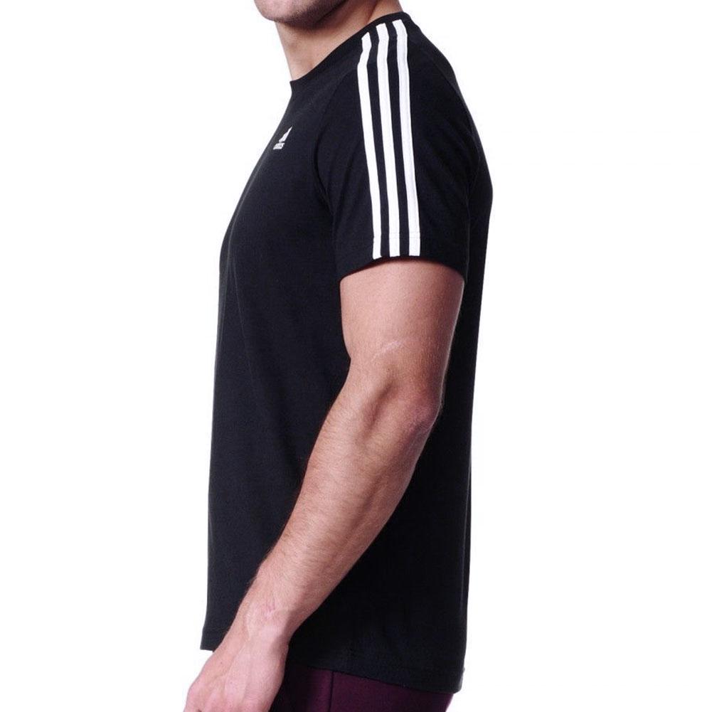 Adidas-Men-039-s-Short-Sleeve-Linear-3-Stripe-Essential-T-Shirt thumbnail 4