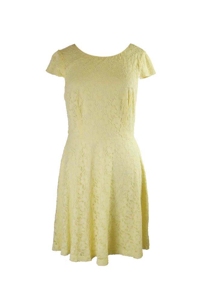 509ba250 Connected Apparel Yellow Cap-Sleeve Lace Fit & Flare Dress 10 MSRP: $79