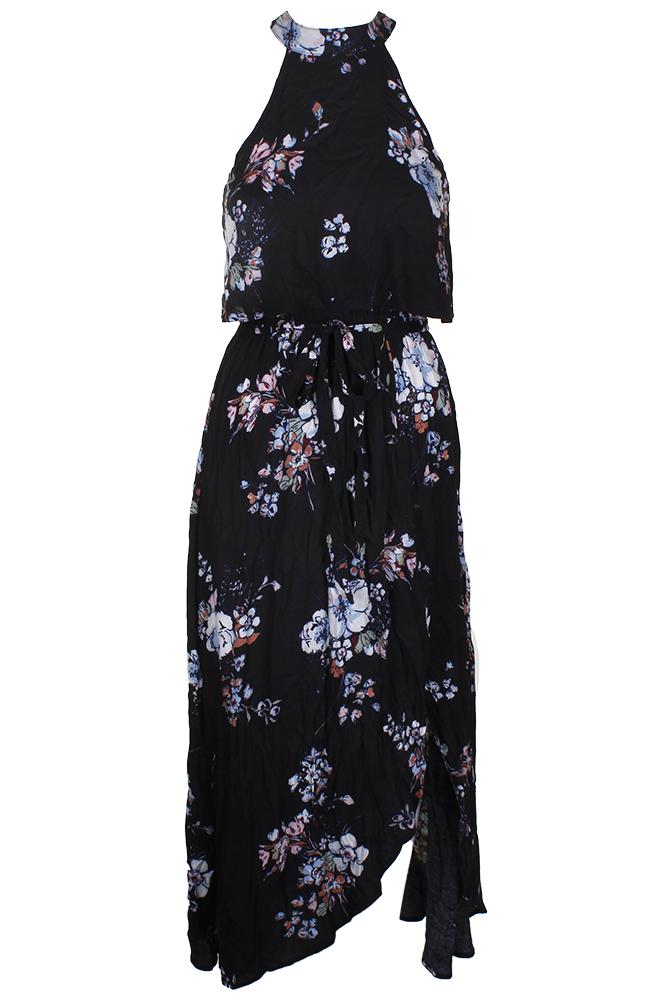 d763038856aa American Rag Juniors Black White Floral-Print Ruffled Tie Waist Maxi Dress S