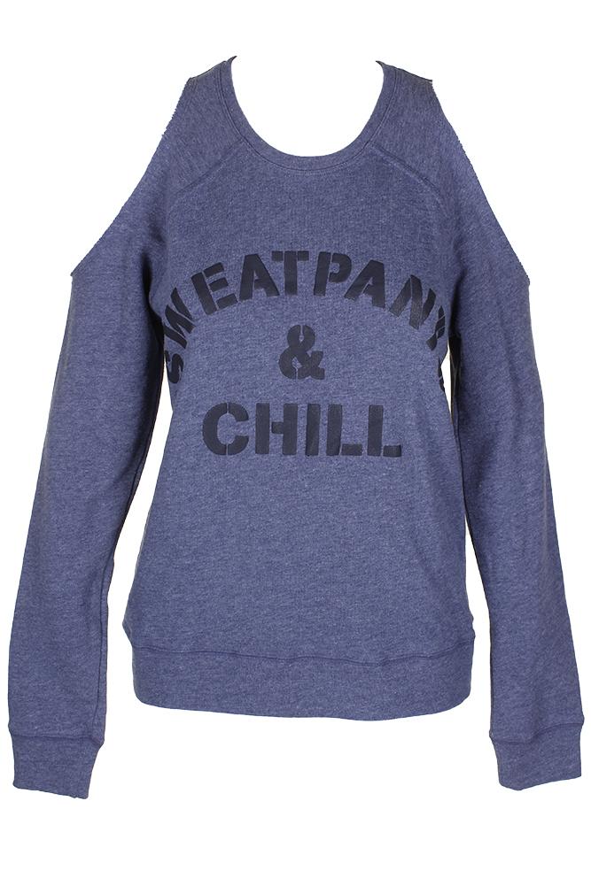 e2e24c278e8ca Material Girl Juniors Blue Black Sweatpants Graphic Cold-Shoulder Pullover S