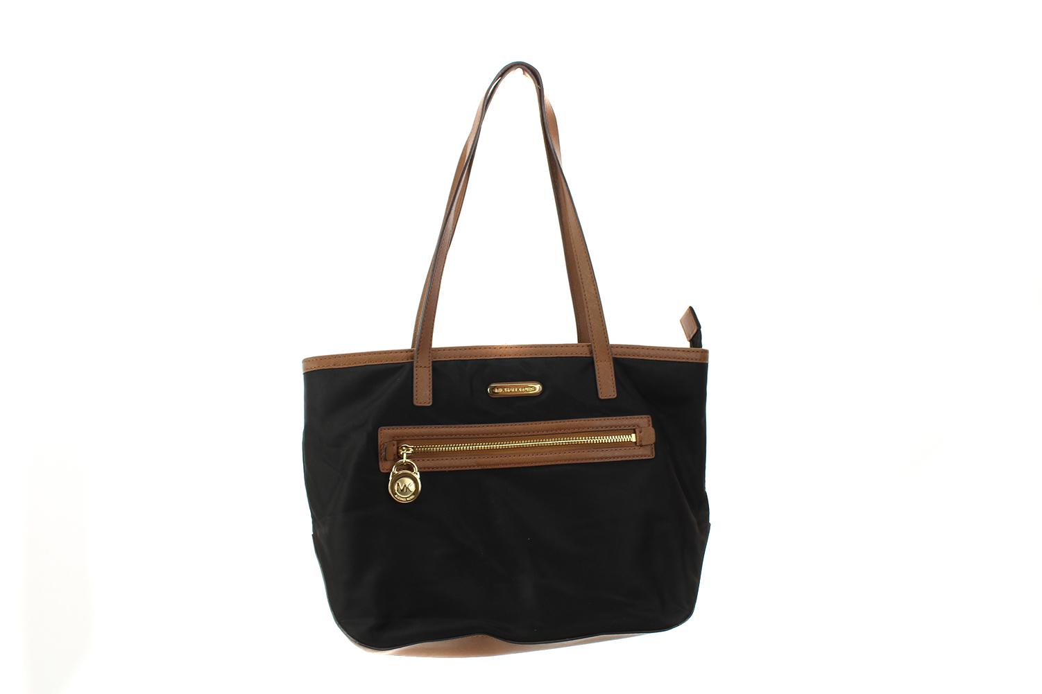 3d4aba33e03146 Michael Michael Kors Black Gold Kempton Nylon Small Tote Bag OS ...