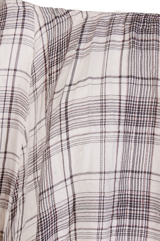 1b1df71164925 Style   Co Plus Size Ivory Black Plaid Boat Neck Ruffle Hem Raglan Sleeve  Top