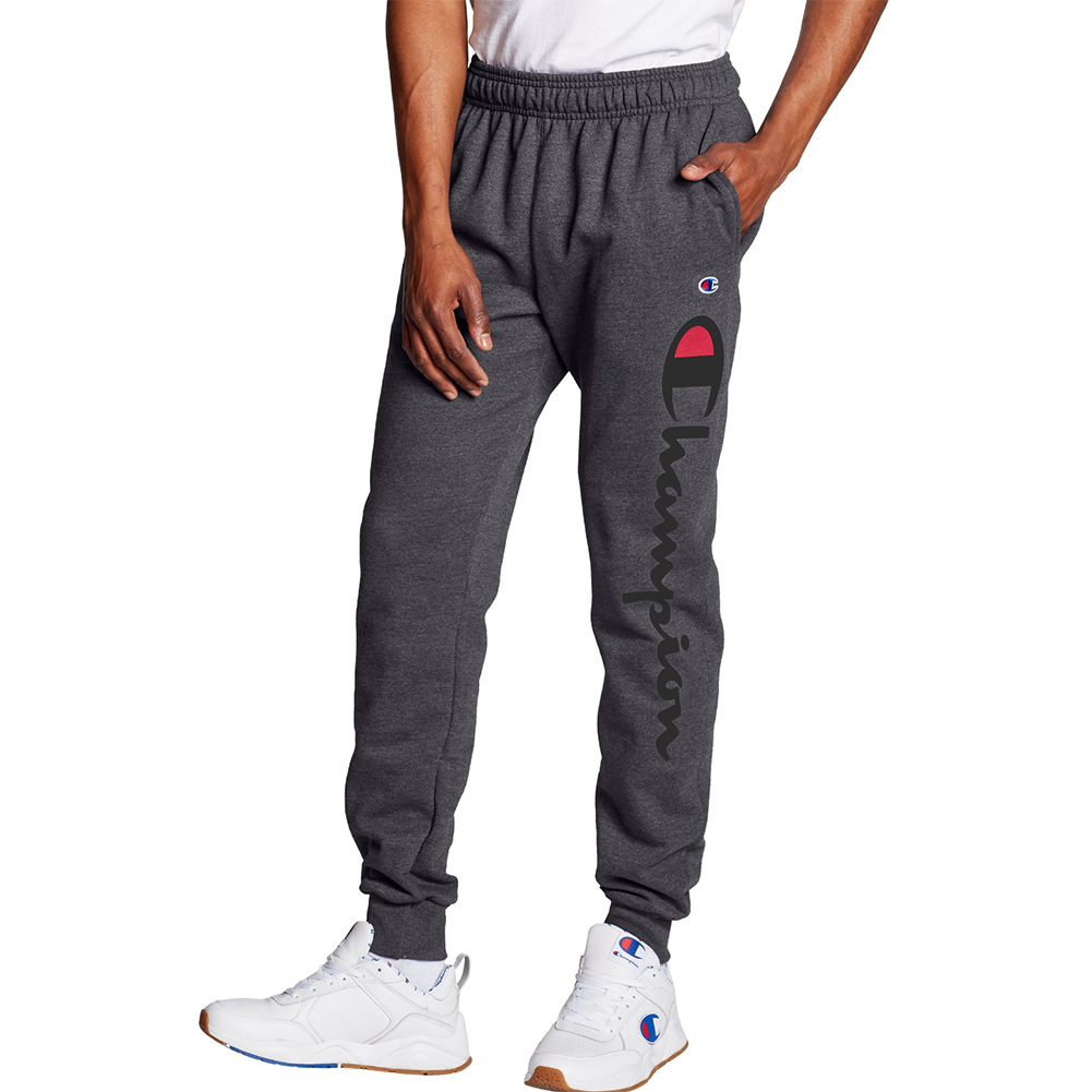 Champion-Men-039-s-Script-Logo-Mid-Rise-Athletic-Jogger-Sweatpants thumbnail 3