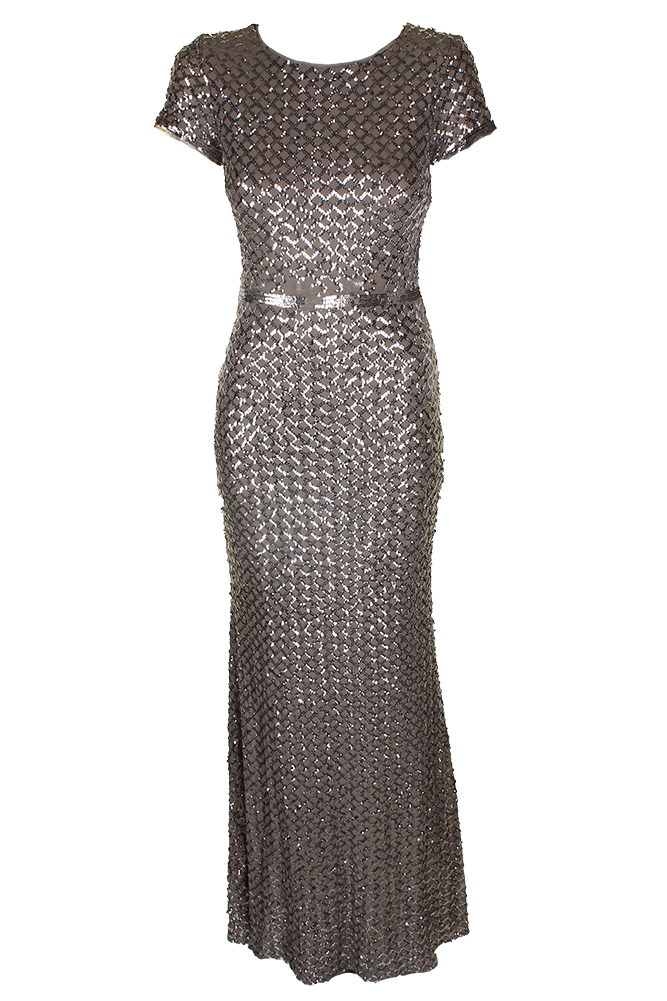 711e900e0d73 Betsy Adam Taupe Silver Short-Sleeve Sequined Mesh Gown 8 MSRP: $269 ...