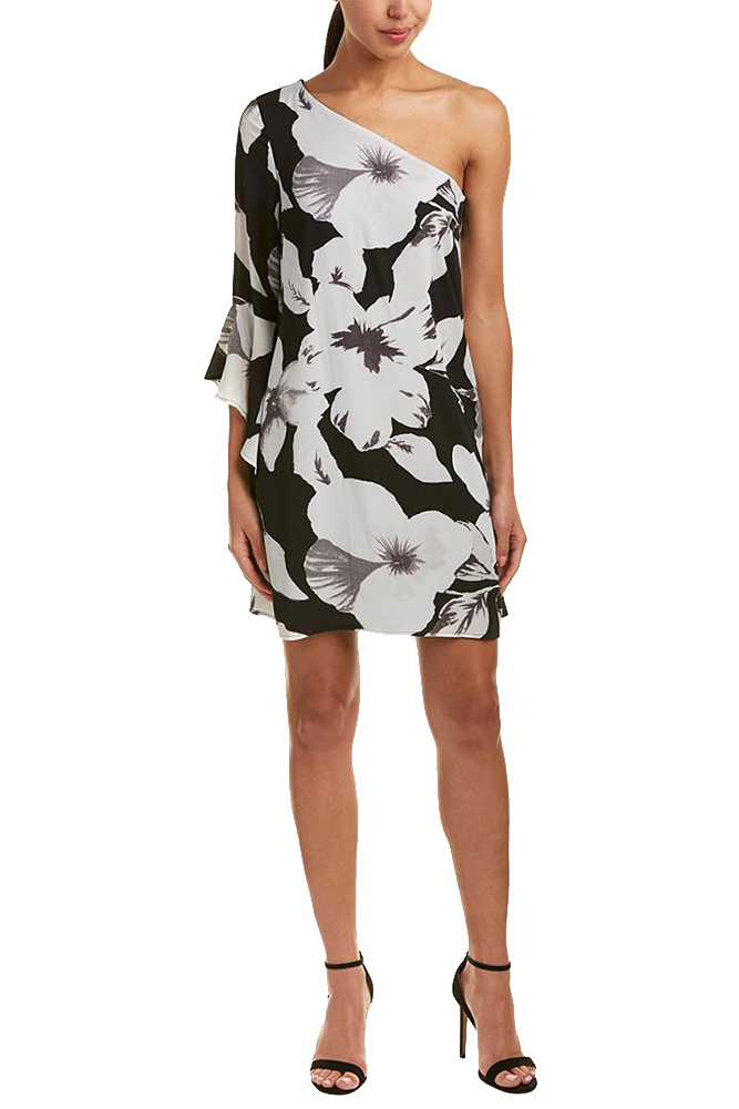 bef4f73f79d Cece Black Grey Bell-Sleeve Floral-Print One-Shoulder Shift Dress 8 ...