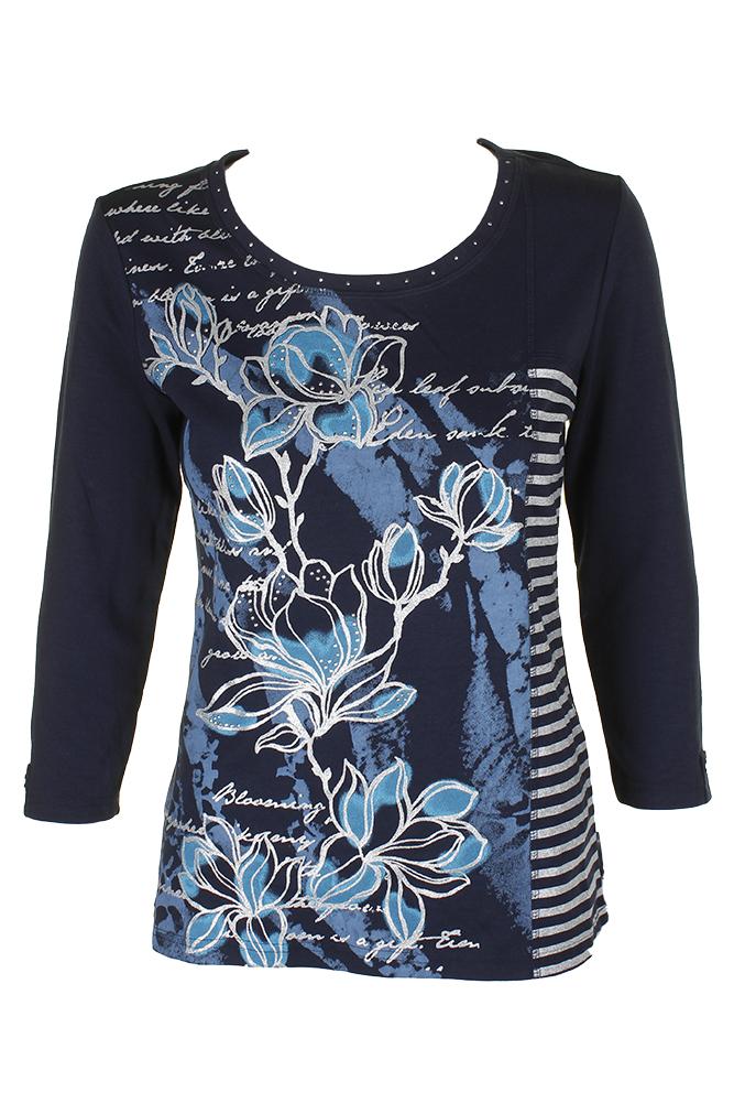 a8a3b689006cd Karen Scott Intrepid Blue 3/4-Sleeve Metallic Mixed-Print T-Shirt XS ...