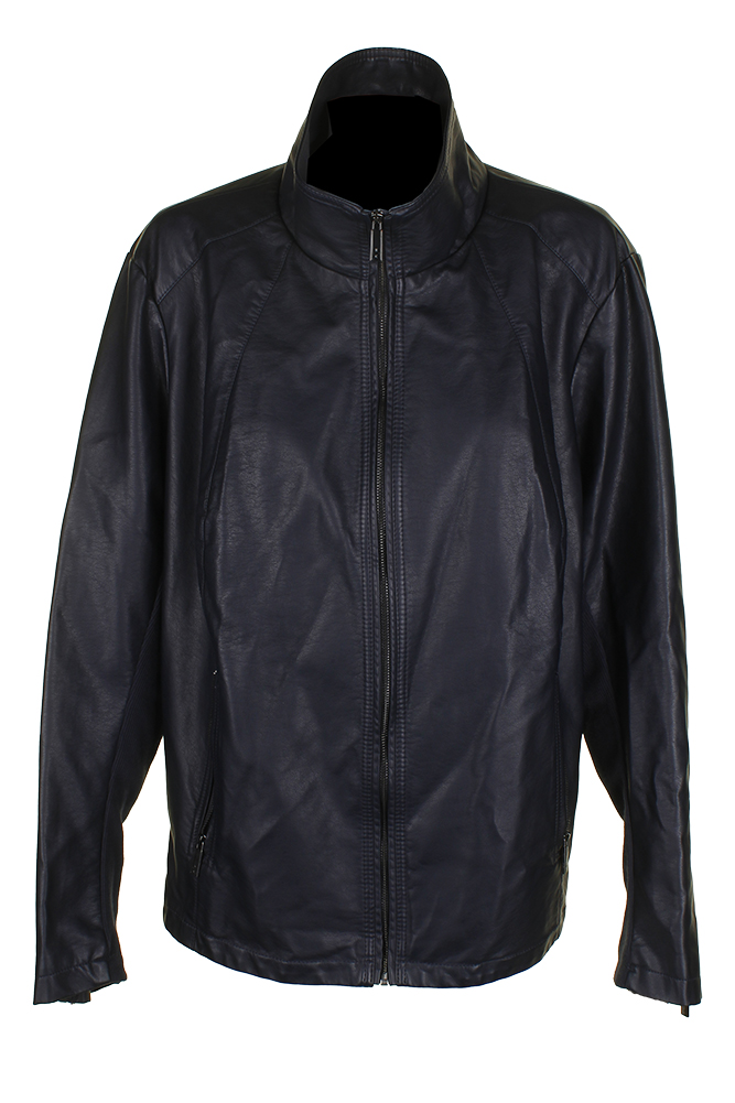 3ec3691e4f4 Kenneth Cole Plus Size Midnight Blue Knit-Sleeve Faux-Leather Full Zip  Jacket 2X