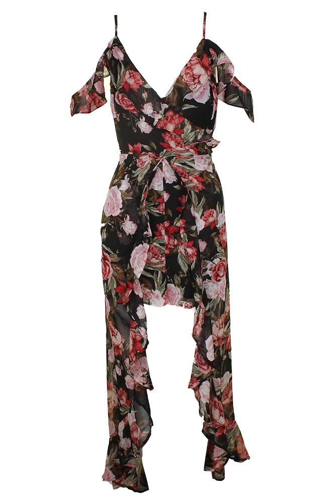 63a17db1844e Material Girl Juniors Black Combo Rose-Print Sleeveless Ruffled Romper XL