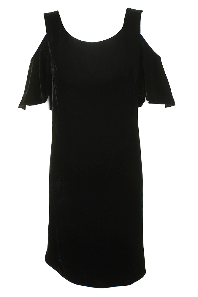 7f5918f130 Lauren Ralph Lauren Polo Black Cold-Shoulder Velvet Shift Dress 14 ...