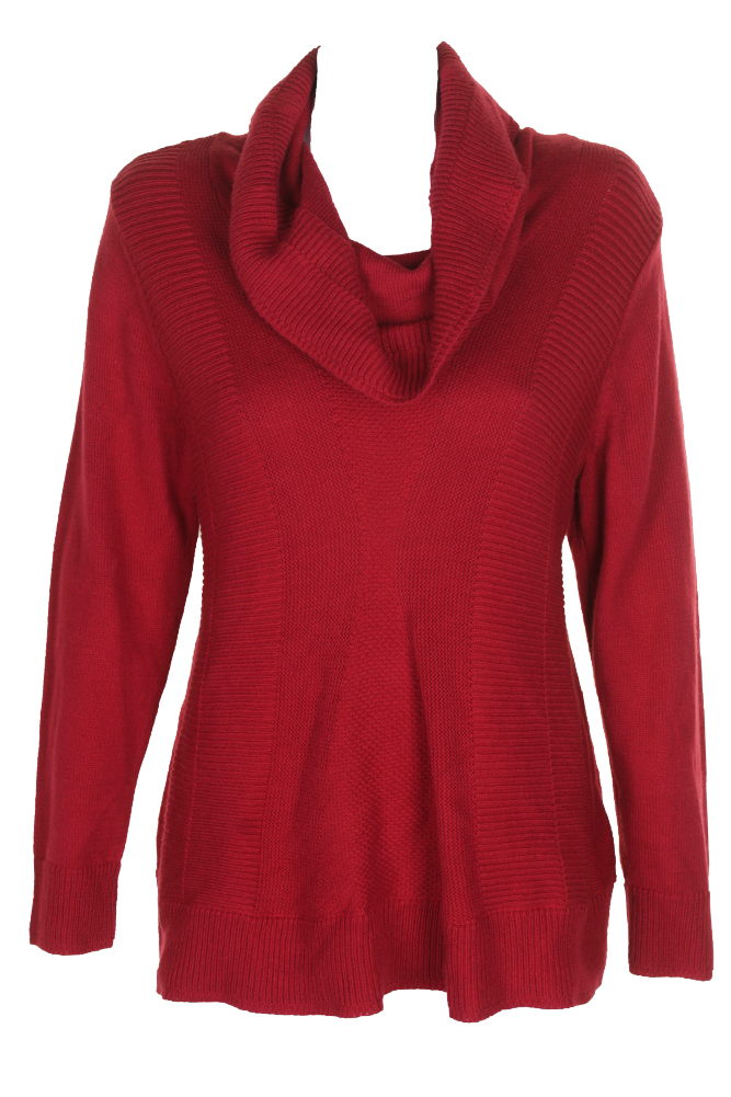 cee0aa5b7c3cf9 Style   Co Canyon Red Mixed-Knit Cowl-Neck Sweater M 706258699453