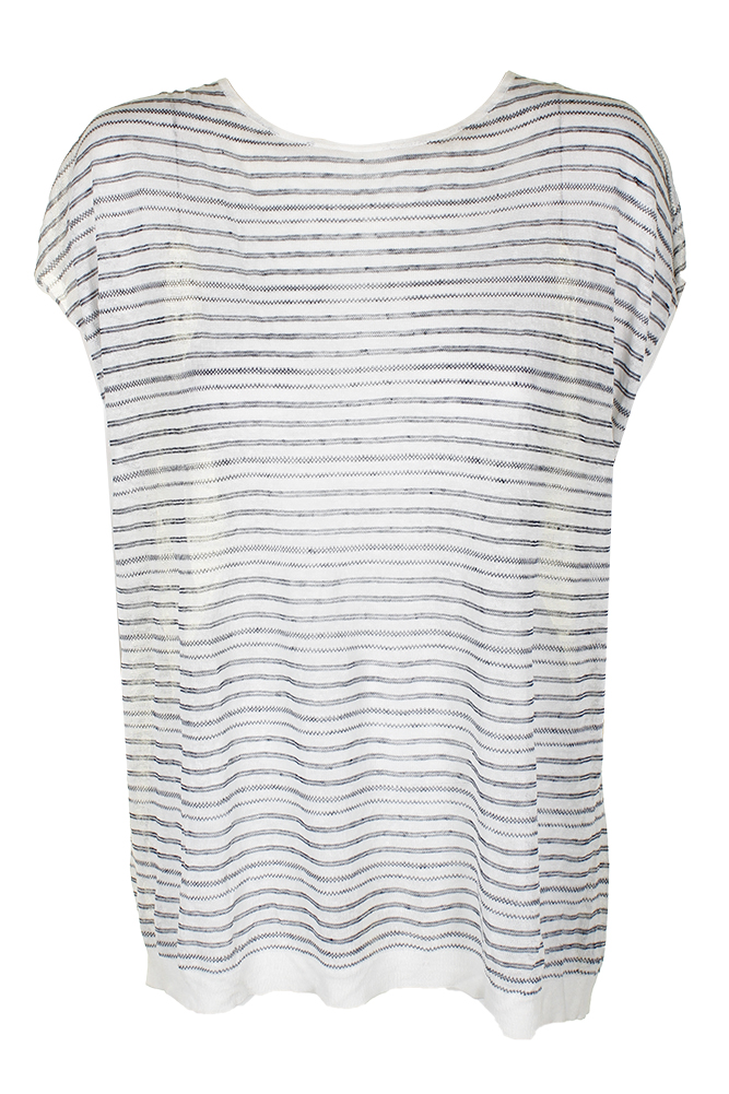 3f732355287 Theory White Blue Varinka Short-Sleeve Tie-Back Striped Knit Top M MSRP $190